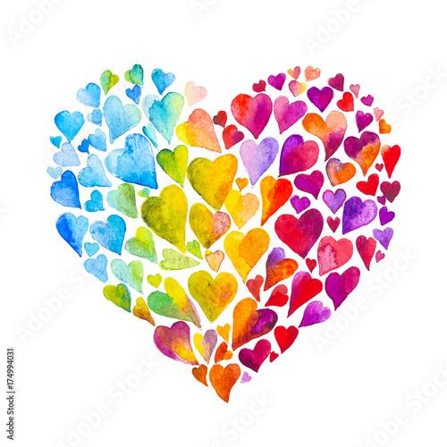 obraz lub plakat cuore acquerello amore