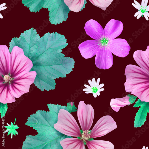 Flower photorealistic pattern Poster