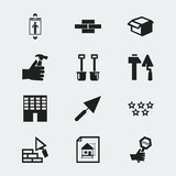 Set Of 12 Editable Construction Icons. Includes Symbols Such As Architecture, House Plan, Lift And More. Can Be Used For Web, Mobile, UI And Infographic Design. - 174999600