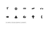 Set Of 10 Editable Food Icons. Includes Symbols Such As Cherry, Pistachio, Cocos And More. Can Be Used For Web, Mobile, UI And Infographic Design. - 175001820