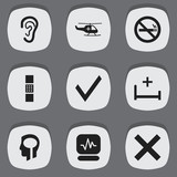 Set Of 9 Editable Clinic Icons. Includes Symbols Such As Clinic Room, Medical Aviation, Stop Smoke And More. Can Be Used For Web, Mobile, UI And Infographic Design. - 175002695