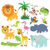 Jungle animals vector cartoon illustration - 175007881
