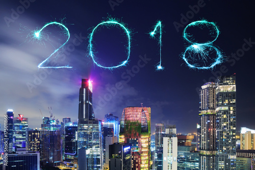 2018 Happy new year firework Sparkle with cityscape of Singapore city at night Poster