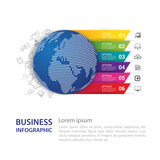 Infographic design vector and Modern world map.Business concept with 6 options