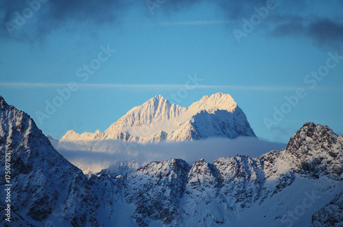 Foto op Canvas Nachtblauw Winter mountain landscape
