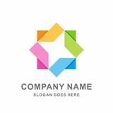 Colorful Geometric Circular Square Triangle Cube Box Star Arrow Business Company Stock Vector Logo Design Template - 175019822
