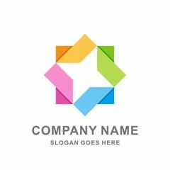Colorful Geometric Circular Square Triangle Cube Box Star Arrow Business Company Stock Vector Logo Design Template