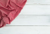 Crumpled red checkered tablecloth or napkin on empty white wooden table with copy space for food cooking  menu background concept , top view or overhead shot - 175022286