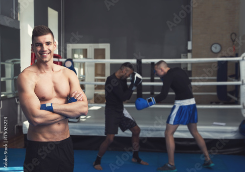 Staande foto Male boxers. Taking a box in the gym. Male kind of relaxation. Sports training.