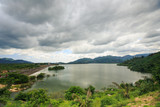 Large Lake among Hills under Grey Clouds in Vietnam - 175025888