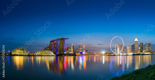 Illuminated of cityscape and urban downtown, Panoramic scene, Singapore Poster