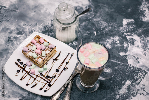 Staande foto Wenen Vienna waffles with marshmallows and coffee. Home-made pastries. Light breakfast
