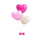 Bundle balloons form hearts bow isolated. A bundle of pink and white balloons with a bow isolated on white background. Bunch of balls in the form of a vector illustration - 175030627