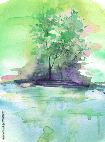 Watercolor green landscape, river bank, lake, with trees and bushes. In vintage illustration. Maple, aspen, poplar on the river bank, reflected in the water. © helgafo