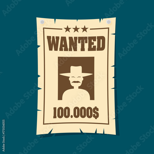 Aluminium Vintage Poster Vintage wanted poster flat vector