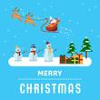Flat design, Illustration of Santa's sledge, Snowman and presents, Vector