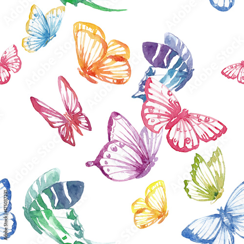 Fototapeta Watercolor butterfly vector pattern