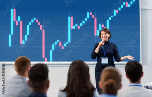 group of people at business conference or lecture Poster