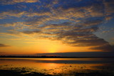 Sunset landscape, reflection in water, Nature park Lonjsko polje in Croatia - 175040287