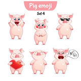 Vector set of cute pig characters. Set 4 - 175040637