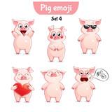 Vector set of cute pig characters. Set 4