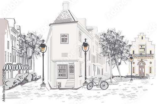 Fototapeta Series of backgrounds decorated with old town views and street cafes. Hand drawn Vector Illustration.