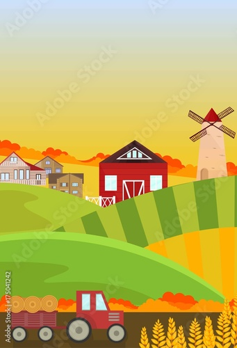 Fotobehang Boerderij Autumn fields harvest season. Landscape Vector backgrounds