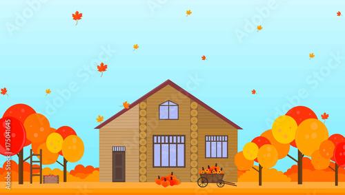 Tuinposter Lichtblauw Farm house in autumn season background Vector illustrations