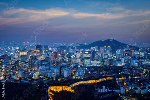 Seoul skyline in the night, South Korea. Poster