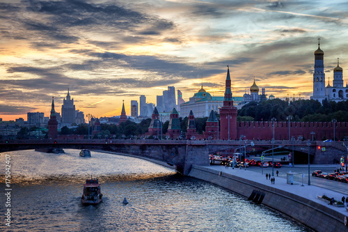 Aluminium Moskou Center of Moscow, the Kremlin and the embankment at sunset