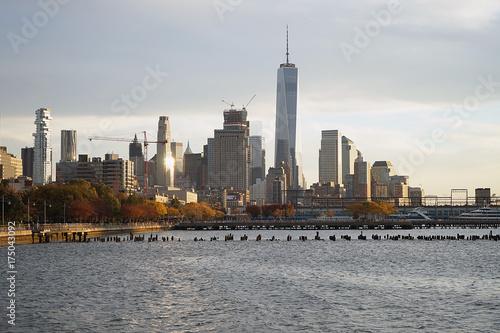 Foto op Plexiglas New York TAXI Skyline New York Manhattan Hudson River Light