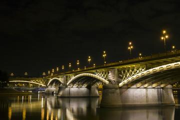 Margaret Bridge by night in Budapest