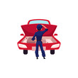 Auto mechanic, car service worker thinking what to do with a car engine, cartoon vector illustration isolated on white background. Cartoon auto mechanic, technician looking at car engine
