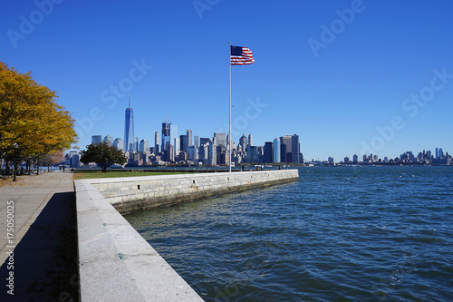 Foto op Plexiglas New York TAXI American Flag in New York City USA