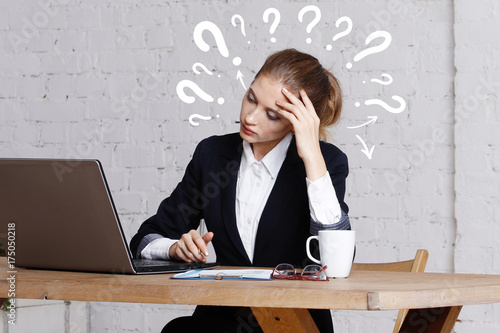 Fridge magnet Business question woman work in office on notebook.