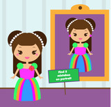 Find the differences educational children game. Kids activity sheet with beautiful girl princess