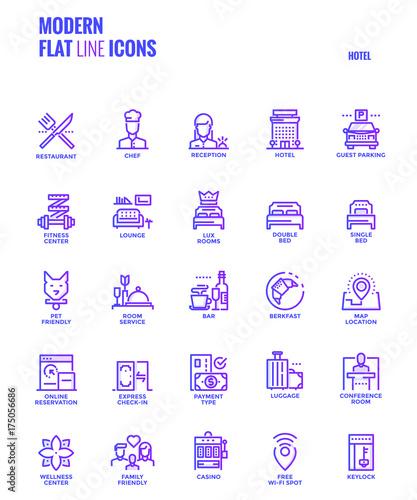 Flat line gradient icons design-Hotel