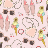 Pattern of women accessories and ice cream on a pink background. - 175056866