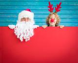 Santa Claus and reindeer child - 175057218