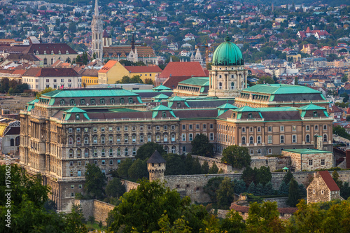 Fotobehang Boedapest Budapest, Hungary - The beautiful Buda Castle Royal Palace with the Buda hills and the Matthias Church at background