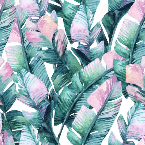 Watercolor banana leaf seamless pattern. - 175063040