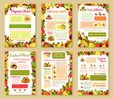 Vector posters set of tropical exotic fruits - 175063292