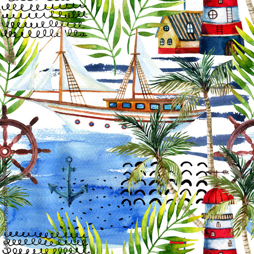 Watercolor adventure seamless pattern in marine style. - 175064423