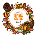 Happy Thanksgiving day vector sketch poster - 175064626