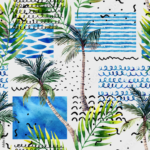 Abstract summer tropical palm tree background. - 175065276