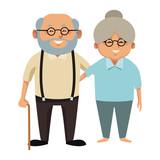 Cute grandparents couple cartoon icon vector illustration graphic design - 175065697