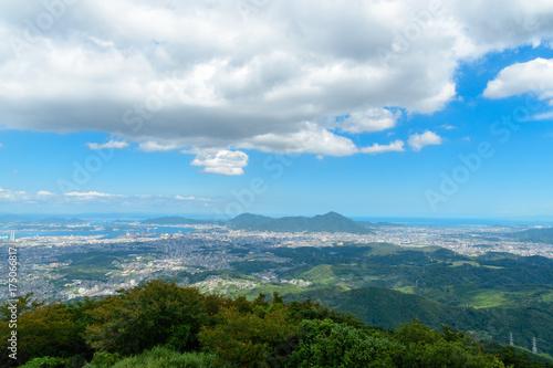 Deurstickers Blauw 北九州市の眺め