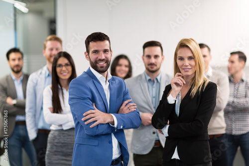 Fridge magnet Successful team of young perspective businesspeople in office