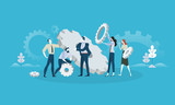 Maintenance. Flat design business people concept for product development, service, engineering. Vector illustration concept for web banner, business presentation, advertising material. - 175069072