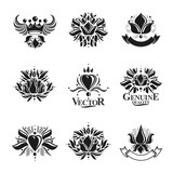 Royal symbols, Flowers, floral and crowns, emblems set. Heraldic vector design elements collection. Retro style label, heraldry logo. - 175069475